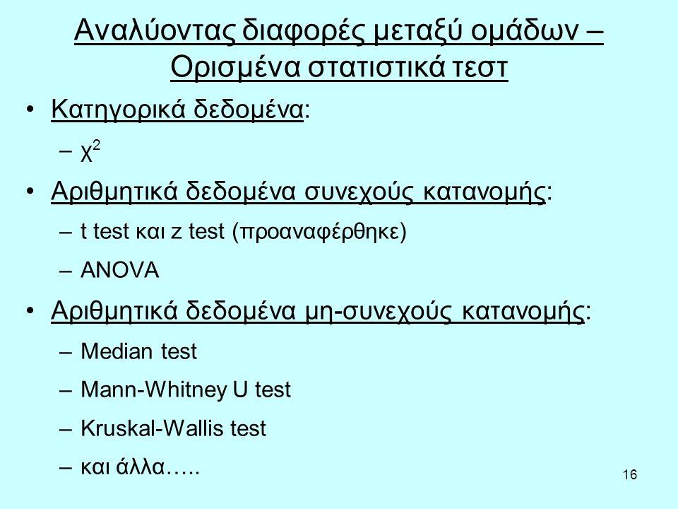16 Αναλύοντας διαφορές μεταξύ ομάδων – Ορισμένα στατιστικά τεστ Κατηγορικά δεδομένα: –χ 2 Αριθμητικά δεδομένα συνεχούς κατανομής: –t test και z test (προαναφέρθηκε) –ANOVA Αριθμητικά δεδομένα μη-συνεχούς κατανομής: –Median test –Mann-Whitney U test –Kruskal-Wallis test –και άλλα…..