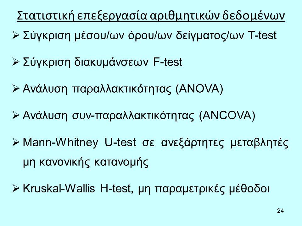 24 Στατιστική επεξεργασία αριθμητικών δεδομένων  Σύγκριση μέσου/ων όρου/ων δείγματος/ων T-test  Σύγκριση διακυμάνσεων F-test  Ανάλυση παραλλακτικότητας (ANOVA)  Ανάλυση συν-παραλλακτικότητας (ANCOVA)  Mann-Whitney U-test σε ανεξάρτητες μεταβλητές μη κανονικής κατανομής  Kruskal-Wallis H-test, μη παραμετρικές μέθοδοι