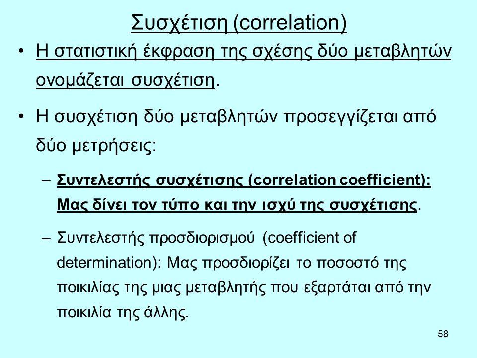 58 Συσχέτιση (correlation) Η στατιστική έκφραση της σχέσης δύο μεταβλητών ονομάζεται συσχέτιση.