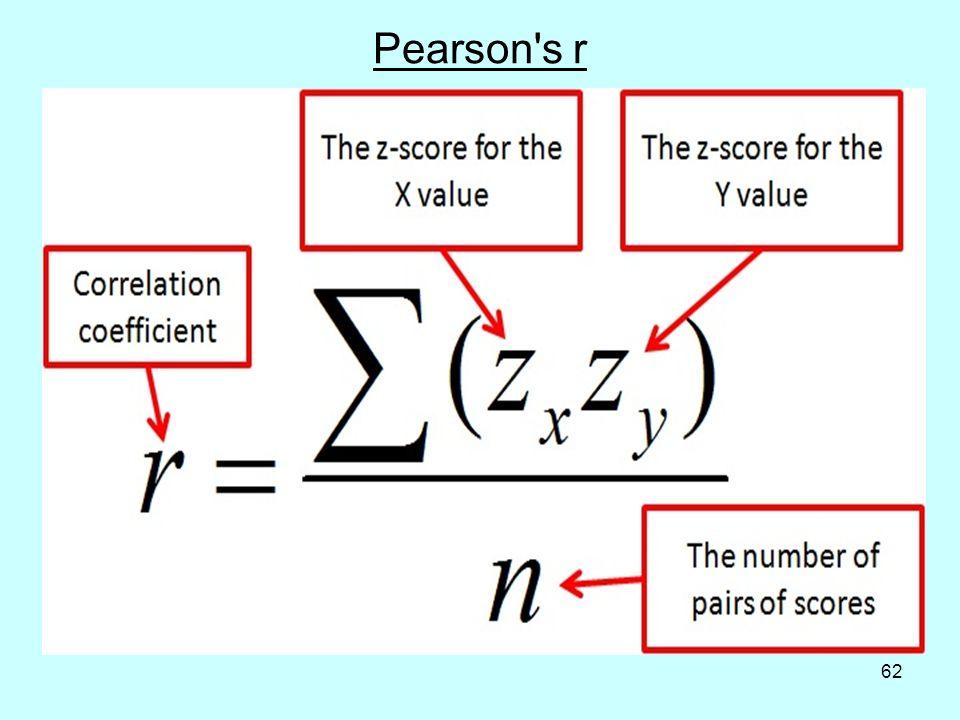 62 Pearson s r