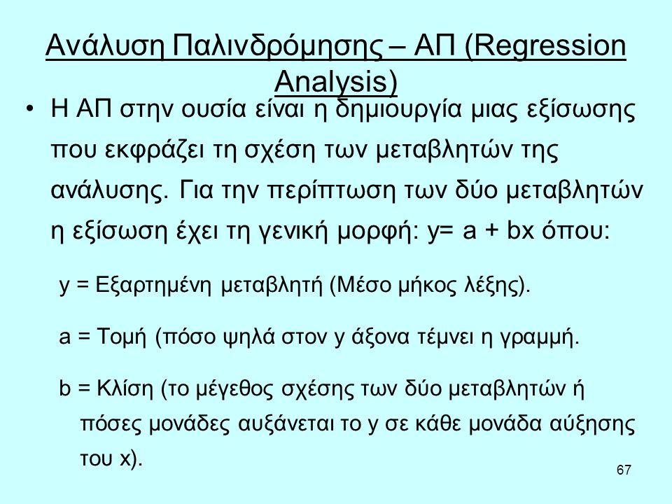 67 Ανάλυση Παλινδρόμησης – ΑΠ (Regression Analysis) Η ΑΠ στην ουσία είναι η δημιουργία μιας εξίσωσης που εκφράζει τη σχέση των μεταβλητών της ανάλυσης.