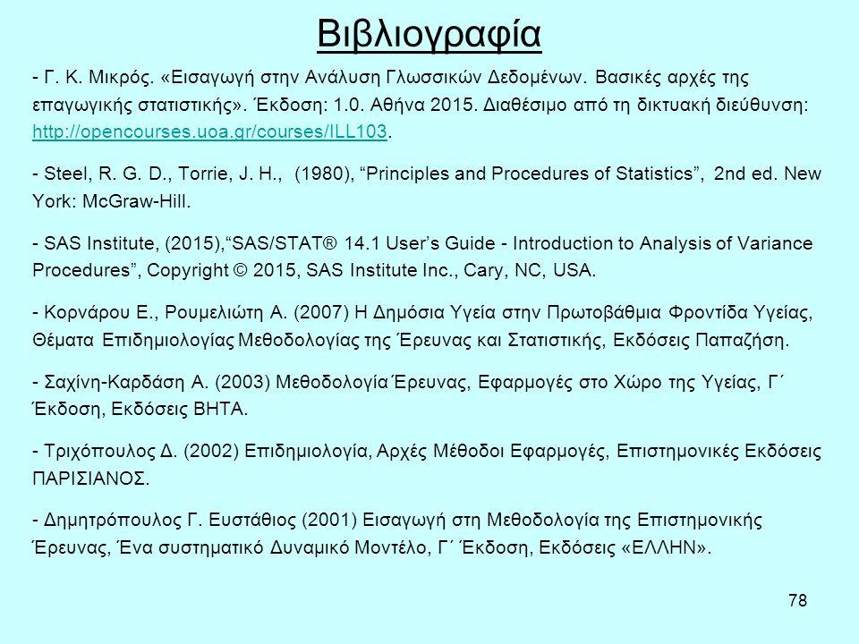78 Βιβλιογραφία - Γ. Κ. Μικρός. «Εισαγωγή στην Ανάλυση Γλωσσικών Δεδομένων.