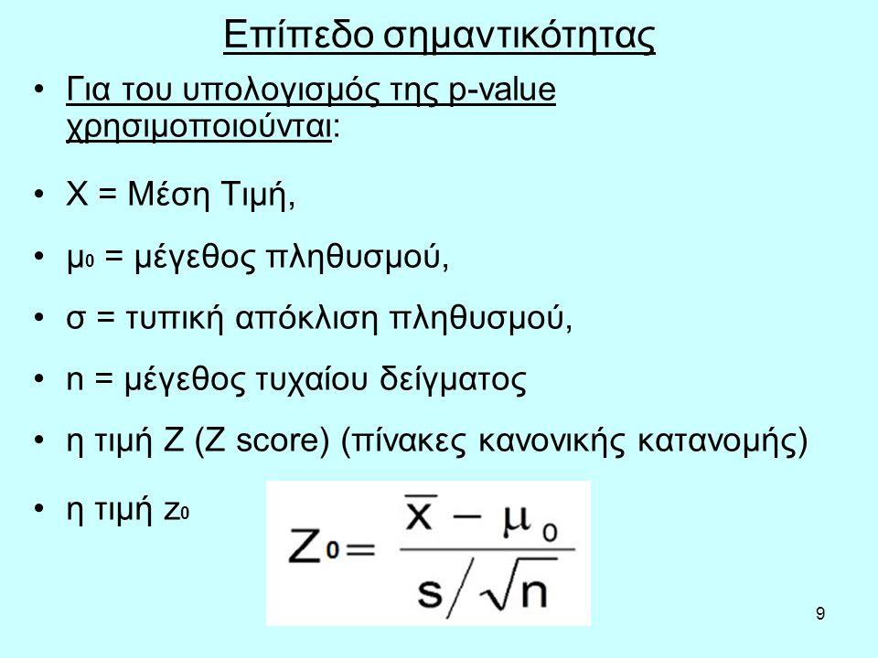 9 Επίπεδο σημαντικότητας Για του υπολογισμός της p-value χρησιμοποιούνται: Χ = Μέση Τιμή, μ 0 = μέγεθος πληθυσμού, σ = τυπική απόκλιση πληθυσμού, n = μέγεθος τυχαίου δείγματος η τιμή Ζ (Ζ score) (πίνακες κανονικής κατανομής) η τιμή z 0