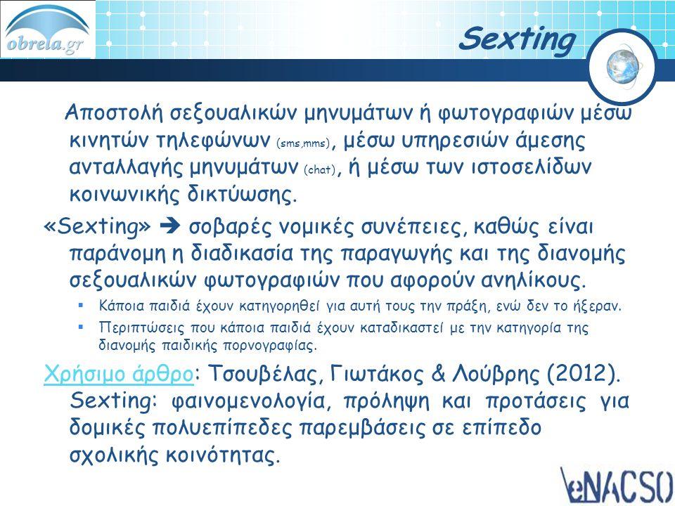 Sexting Aποστολή σεξουαλικών μηνυμάτων ή φωτογραφιών μέσω κινητών τηλεφώνων (sms,mms), μέσω υπηρεσιών άμεσης ανταλλαγής μηνυμάτων (chat), ή μέσω των ι