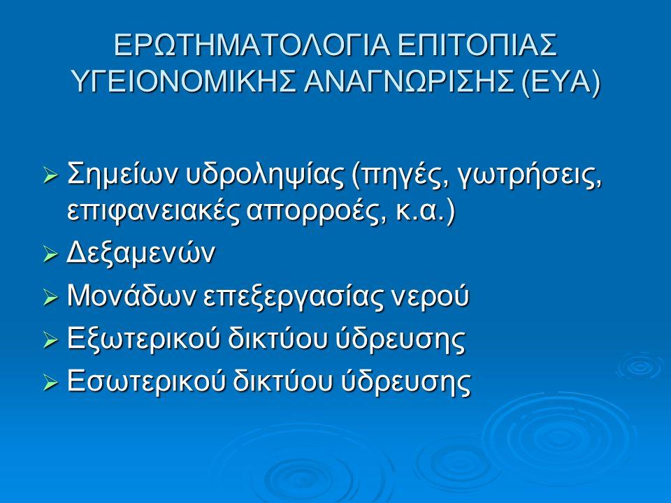 ΕΡΩΤΗΜΑΤΟΛΟΓΙΑ ΕΠΙΤΟΠΙΑΣ ΥΓΕΙΟΝΟΜΙΚΗΣ ΑΝΑΓΝΩΡΙΣΗΣ (ΕΥA)  Σημείων υδροληψίας (πηγές, γωτρήσεις, επιφανειακές απορροές, κ.α.)  Δεξαμενών  Μονάδων επεξεργασίας νερού  Εξωτερικού δικτύου ύδρευσης  Εσωτερικού δικτύου ύδρευσης