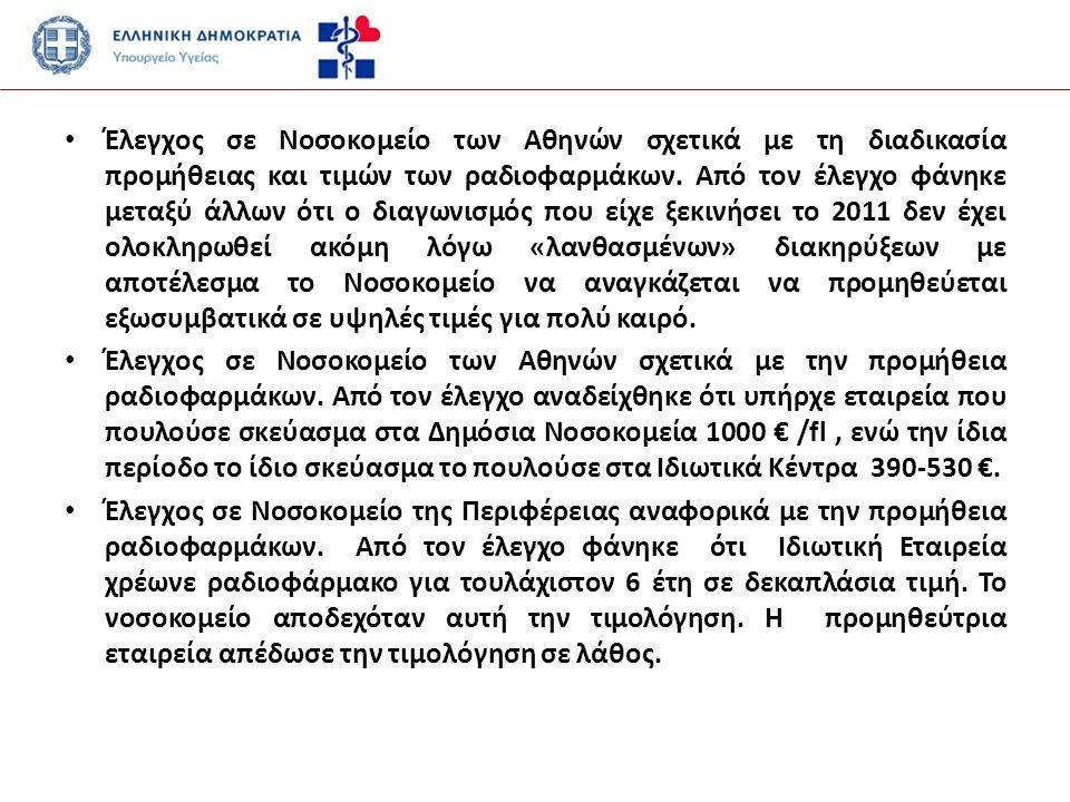 Έλεγχος σε Νοσοκομείο των Αθηνών σχετικά με τη διαδικασία προμήθειας και τιμών των ραδιοφαρμάκων.