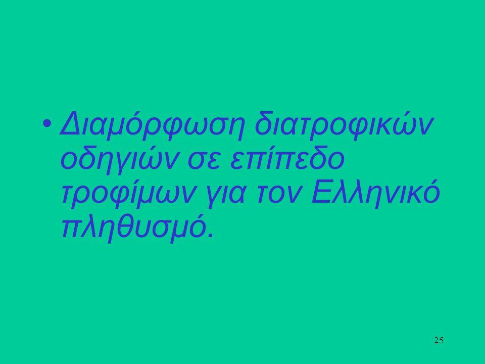 25 Διαμόρφωση διατροφικών οδηγιών σε επίπεδο τροφίμων για τον Ελληνικό πληθυσμό.