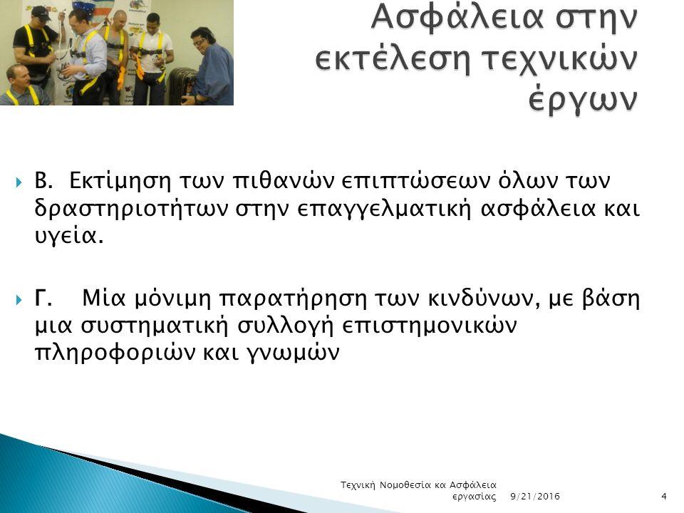  Β. Εκτίμηση των πιθανών επιπτώσεων όλων των δραστηριοτήτων στην επαγγελματική ασφάλεια και υγεία.