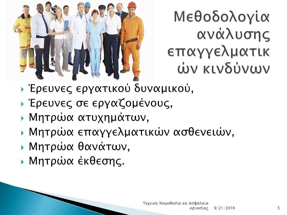  Έρευνες εργατικού δυναμικού,  Έρευνες σε εργαζομένους,  Μητρώα ατυχημάτων,  Μητρώα επαγγελματικών ασθενειών,  Μητρώα θανάτων,  Μητρώα έκθεσης.