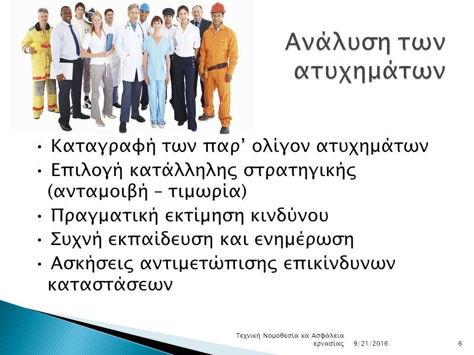 Καταγραφή των παρ' ολίγον ατυχημάτων Επιλογή κατάλληλης στρατηγικής (ανταμοιβή – τιμωρία) Πραγματική εκτίµηση κινδύνου Συχνή εκπαίδευση και ενημέρωση Ασκήσεις αντιμετώπισης επικίνδυνων καταστάσεων 9/21/2016 Τεχνική Νομοθεσία κα Ασφάλεια εργασίας6