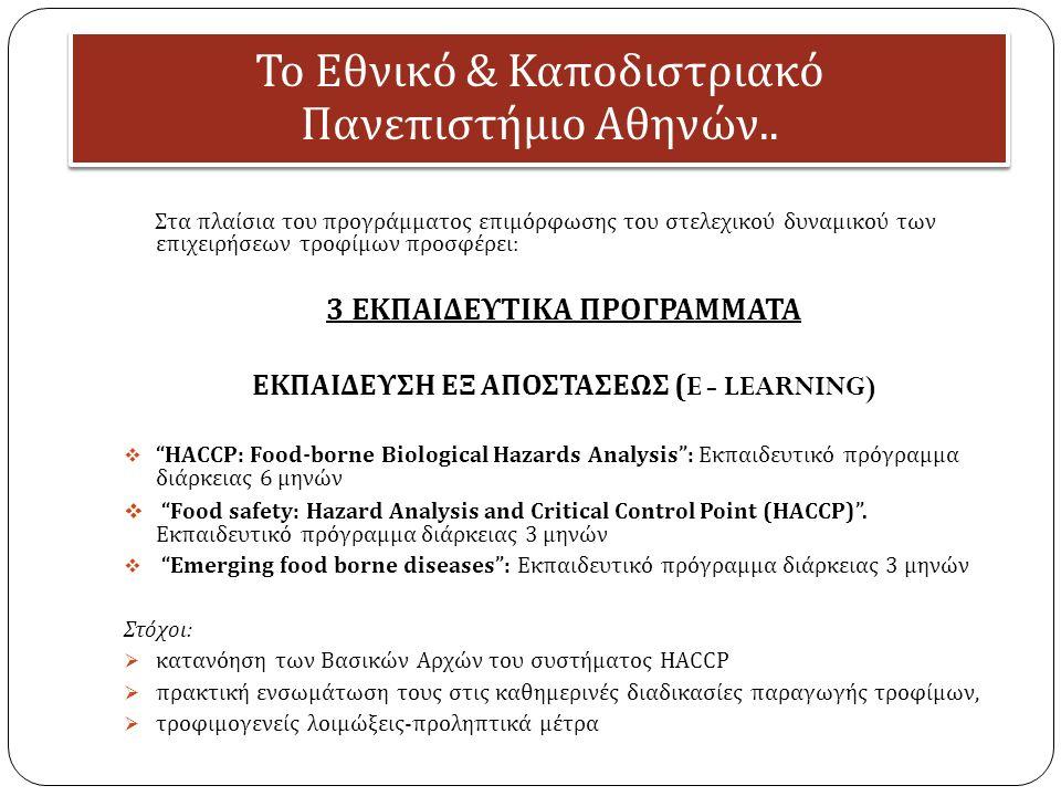 Το Εθνικό & Κα π οδιστριακό Πανε π ιστήμιο Αθηνών.. Στα πλαίσια του προγράμματος επιμόρφωσης του στελεχικού δυναμικού των επιχειρήσεων τροφίμων προσφέ