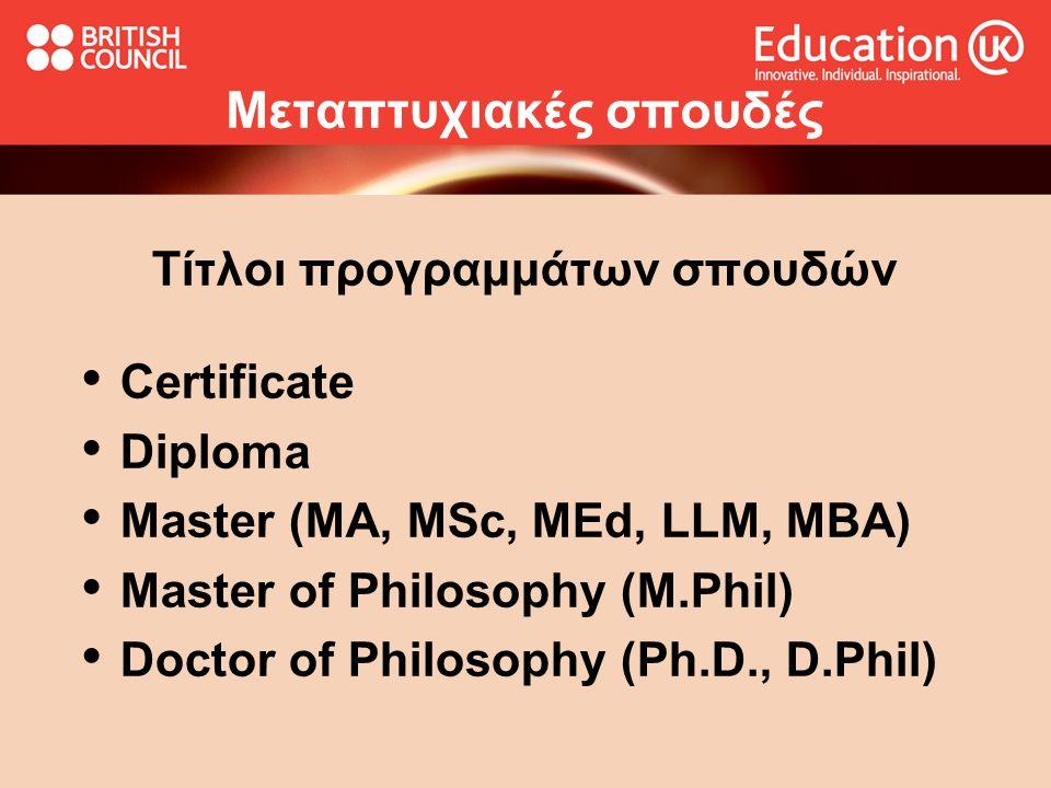 Mεταπτυχιακές σπουδές Τίτλοι προγραμμάτων σπουδών Certificate Diploma Master (MA, MSc, MEd, LLM, MBA) Master of Philosophy (M.Phil) Doctor of Philosop