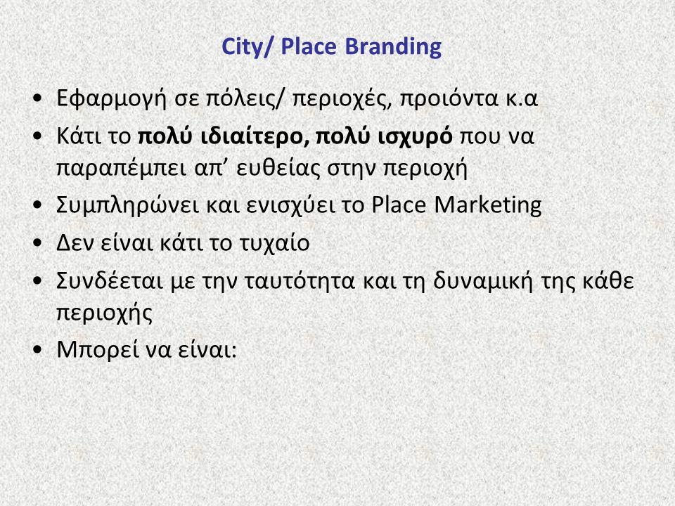 City/ Place Branding Εφαρμογή σε πόλεις/ περιοχές, προιόντα κ.α Κάτι το πολύ ιδιαίτερο, πολύ ισχυρό που να παραπέμπει απ' ευθείας στην περιοχή Συμπληρ