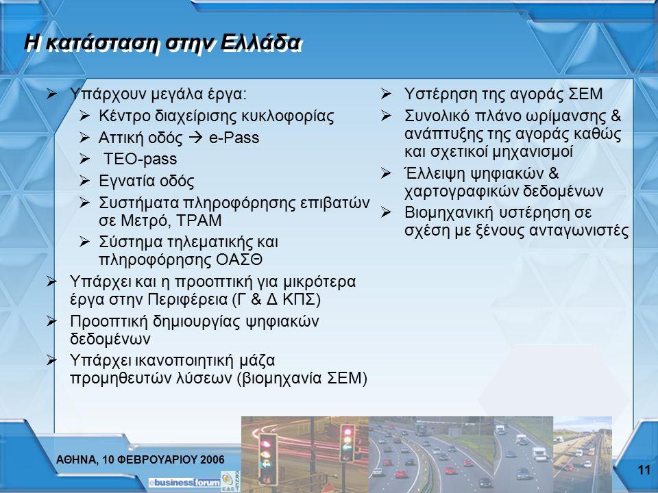 ΑΘΗΝΑ, 10 ΦΕΒΡΟΥΑΡΙΟΥ 2006 10 Το μελλοντικό όραμα  Οδική ασφάλεια. Το παράδειγμα του e-Call: Τεχνολογία αυτόματης κλήσης έκτακτης ανάγκης για τα αυτο