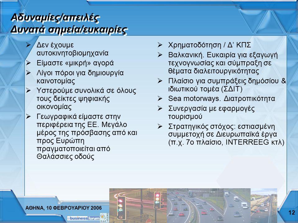 ΑΘΗΝΑ, 10 ΦΕΒΡΟΥΑΡΙΟΥ 2006 11  Υπάρχουν μεγάλα έργα:  Κέντρο διαχείρισης κυκλοφορίας  Αττική οδός  e-Pass  TEO-pass  Εγνατία οδός  Συστήματα πλ