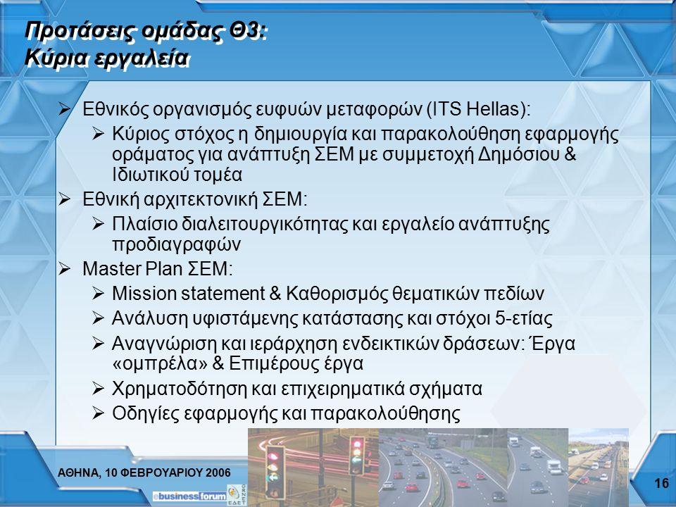 ΑΘΗΝΑ, 10 ΦΕΒΡΟΥΑΡΙΟΥ 2006 15 Ερωτηματολόγιο Θ3: Τεχνολογικές τάσεις