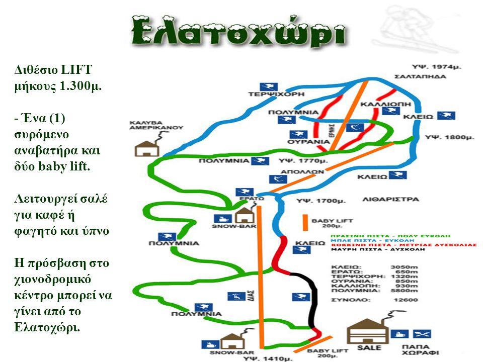 Διθέσιο LIFT μήκους 1.300μ. - Ένα (1) συρόμενο αναβατήρα και δύο baby lift.