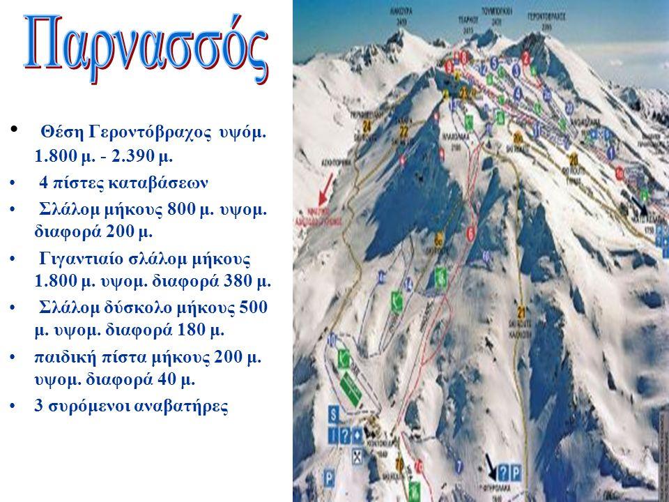 Θέση Γεροντόβραχος υψόμ. 1.800 μ. - 2.390 μ. 4 πίστες καταβάσεων Σλάλομ μήκους 800 μ.