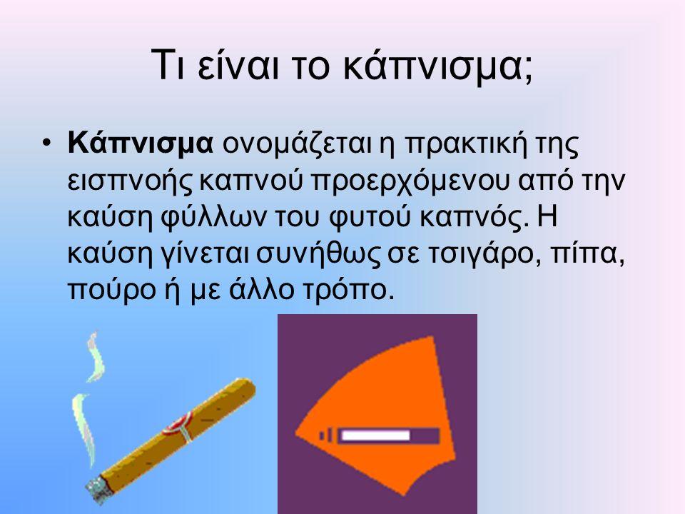 Τι είναι το κάπνισμα; Κάπνισμα ονομάζεται η πρακτική της εισπνοής καπνού προερχόμενου από την καύση φύλλων του φυτού καπνός. Η καύση γίνεται συνήθως σ