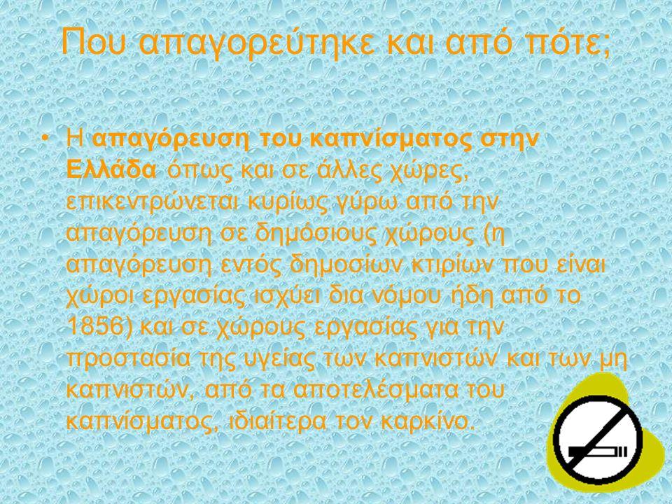 Που απαγορεύτηκε και από πότε; Η απαγόρευση του καπνίσματος στην Ελλάδα όπως και σε άλλες χώρες, επικεντρώνεται κυρίως γύρω από την απαγόρευση σε δημόσιους χώρους (η απαγόρευση εντός δημοσίων κτιρίων που είναι χώροι εργασίας ισχύει δια νόμου ήδη από το 1856) και σε χώρους εργασίας για την προστασία της υγείας των καπνιστών και των μη καπνιστών, από τα αποτελέσματα του καπνίσματος, ιδιαίτερα τον καρκίνο.