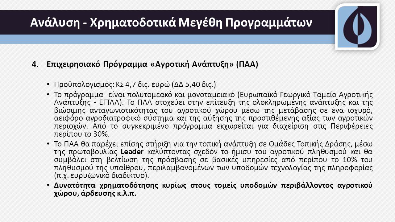 Ανάλυση - Χρηματοδοτικά Μεγέθη Προγραμμάτων 4.Επιχειρησιακό Πρόγραμμα «Αγροτική Ανάπτυξη» (ΠΑΑ) Προϋπολογισμός: ΚΣ 4,7 δις.