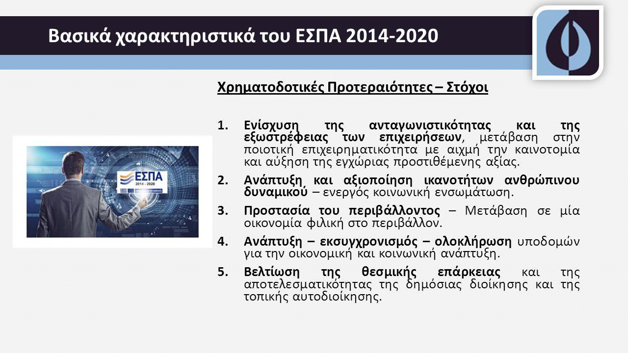 Βασικά χαρακτηριστικά του ΕΣΠΑ 2014-2020 Χρηματοδοτικές Προτεραιότητες – Στόχοι 1.Ενίσχυση της ανταγωνιστικότητας και της εξωστρέφειας των επιχειρήσεων, μετάβαση στην ποιοτική επιχειρηματικότητα με αιχμή την καινοτομία και αύξηση της εγχώριας προστιθέμενης αξίας.