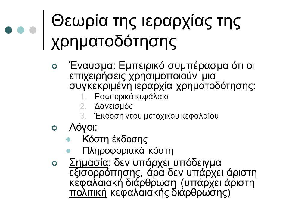 Θεωρία της ιεραρχίας της χρηματοδότησης Έναυσμα: Εμπειρικό συμπέρασμα ότι οι επιχειρήσεις χρησιμοποιούν μια συγκεκριμένη ιεραρχία χρηματοδότησης: 1.Εσωτερικά κεφάλαια 2.Δανεισμός 3.Έκδοση νέου μετοχικού κεφαλαίου Λόγοι: Κόστη έκδοσης Πληροφοριακά κόστη Σημασία: δεν υπάρχει υπόδειγμα εξισορρόπησης, άρα δεν υπάρχει άριστη κεφαλαιακή διάρθρωση (υπάρχει άριστη πολιτική κεφαλαιακής διάρθρωσης)