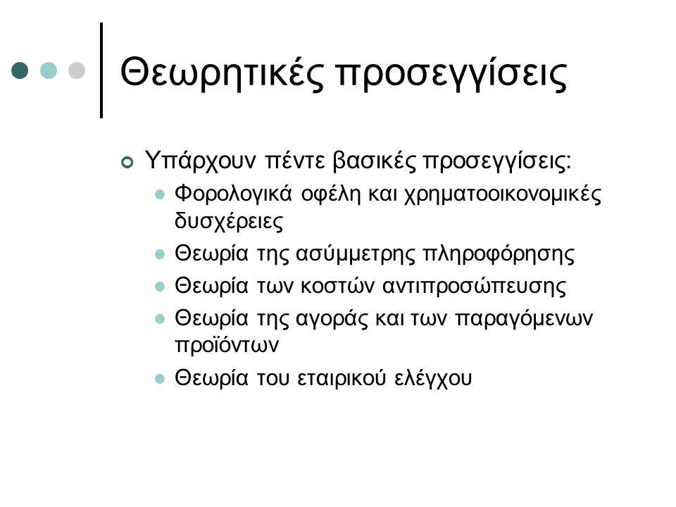 Θεωρητικές προσεγγίσεις Υπάρχουν πέντε βασικές προσεγγίσεις: Φορολογικά οφέλη και χρηματοοικονομικές δυσχέρειες Θεωρία της ασύμμετρης πληροφόρησης Θεωρία των κοστών αντιπροσώπευσης Θεωρία της αγοράς και των παραγόμενων προϊόντων Θεωρία του εταιρικού ελέγχου