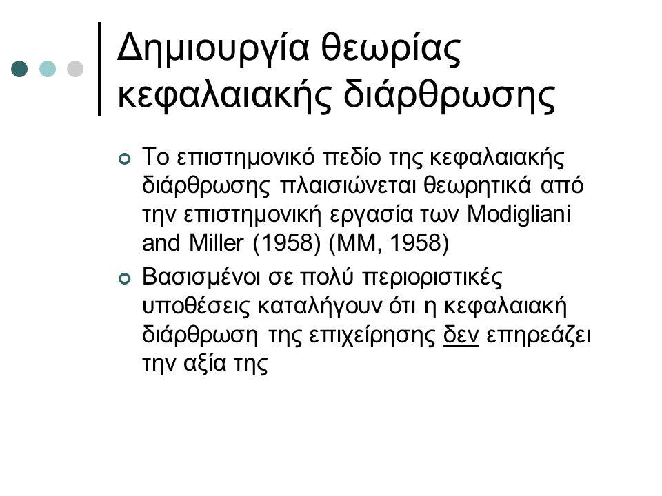 Δημιουργία θεωρίας κεφαλαιακής διάρθρωσης Το επιστημονικό πεδίο της κεφαλαιακής διάρθρωσης πλαισιώνεται θεωρητικά από την επιστημονική εργασία των Modigliani and Miller (1958) (ΜΜ, 1958) Βασισμένοι σε πολύ περιοριστικές υποθέσεις καταλήγουν ότι η κεφαλαιακή διάρθρωση της επιχείρησης δεν επηρεάζει την αξία της