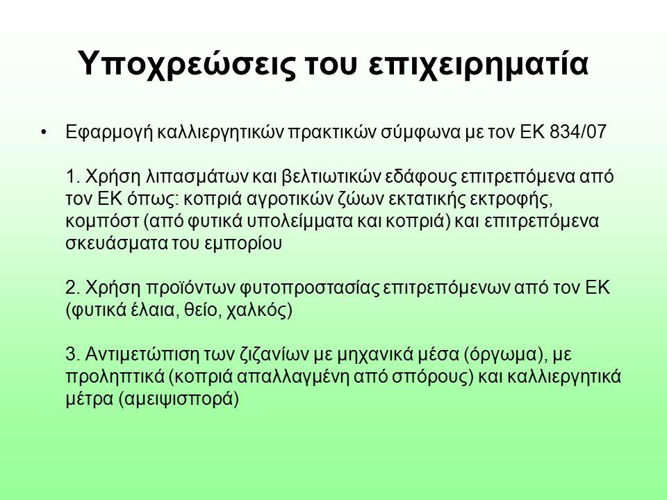 Υποχρεώσεις του επιχειρηματία Εφαρμογή καλλιεργητικών πρακτικών σύμφωνα με τον ΕΚ 834/07 1.