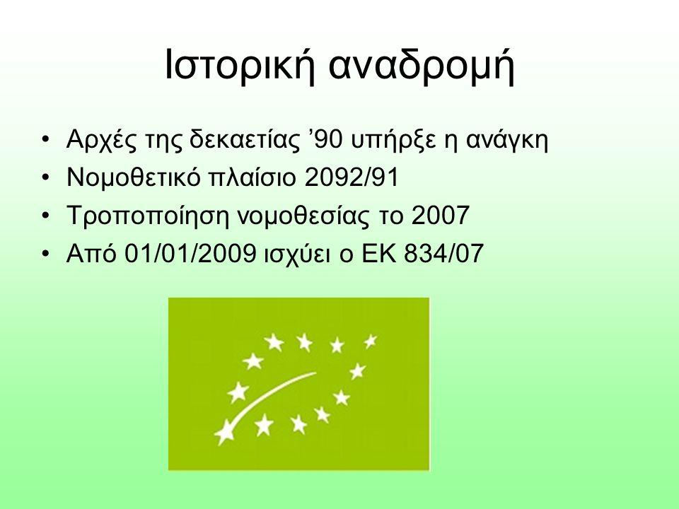 Ιστορική αναδρομή Αρχές της δεκαετίας '90 υπήρξε η ανάγκη Νομοθετικό πλαίσιο 2092/91 Τροποποίηση νομοθεσίας το 2007 Από 01/01/2009 ισχύει ο ΕΚ 834/07