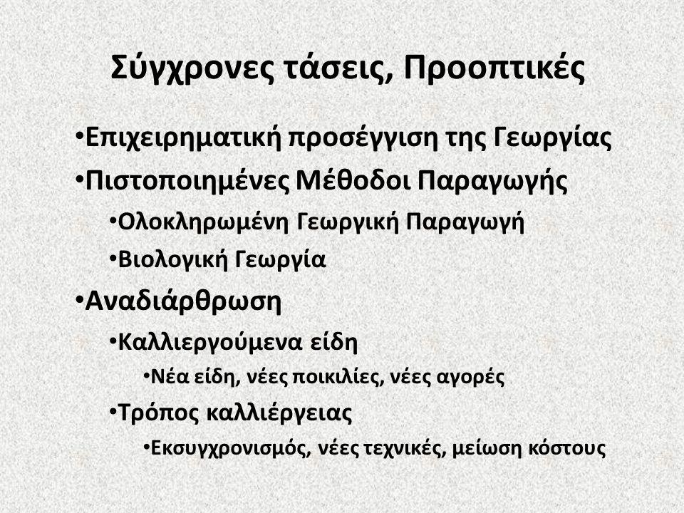 Επιχειρηματική προσέγγιση της Γεωργίας Πιστοποιημένες Μέθοδοι Παραγωγής Ολοκληρωμένη Γεωργική Παραγωγή Βιολογική Γεωργία Αναδιάρθρωση Καλλιεργούμενα ε