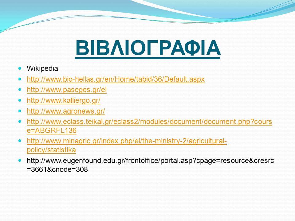 ΒΙΒΛΙΟΓΡΑΦΙΑ Wikipedia http://www.bio-hellas.gr/en/Home/tabid/36/Default.aspx http://www.paseges.gr/el http://www.kalliergo.gr/ http://www.agronews.gr/ http://www.eclass.teikal.gr/eclass2/modules/document/document.php cours e=ABGRFL136 http://www.eclass.teikal.gr/eclass2/modules/document/document.php cours e=ABGRFL136 http://www.minagric.gr/index.php/el/the-ministry-2/agricultural- policy/statistika http://www.minagric.gr/index.php/el/the-ministry-2/agricultural- policy/statistika http://www.eugenfound.edu.gr/frontoffice/portal.asp cpage=resource&cresrc =3661&cnode=308