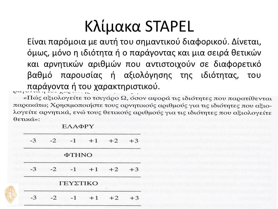ΕΡΕΥΝΑ ΜΑΡΚΕΤΙΝΓΚ - ΦΑΙΔΩΝ ΘΕΟΦΑΝΙΔΗΣ 11 Κλίμακα STAPEL Είναι παρόμοια με αυτή του σημαντικού διαφορικού.