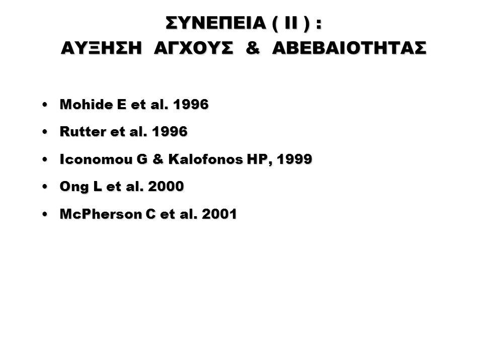 ΣΥΝΕΠΕΙΑ ( II ) : ΑΥΞΗΣΗ ΑΓΧΟΥΣ & ΑΒΕΒΑΙΟΤΗΤΑΣ Mohide E et al. 1996Mohide E et al. 1996 Rutter et al. 1996Rutter et al. 1996 Iconomou G & Kalofonos HP