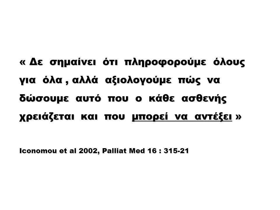 « Δε σημαίνει ότι πληροφορούμε όλους για όλα, αλλά αξιολογούμε πώς να δώσουμε αυτό που ο κάθε ασθενής χρειάζεται και που μπορεί να αντέξει » Iconomou et al 2002, Palliat Med 16 : 315-21
