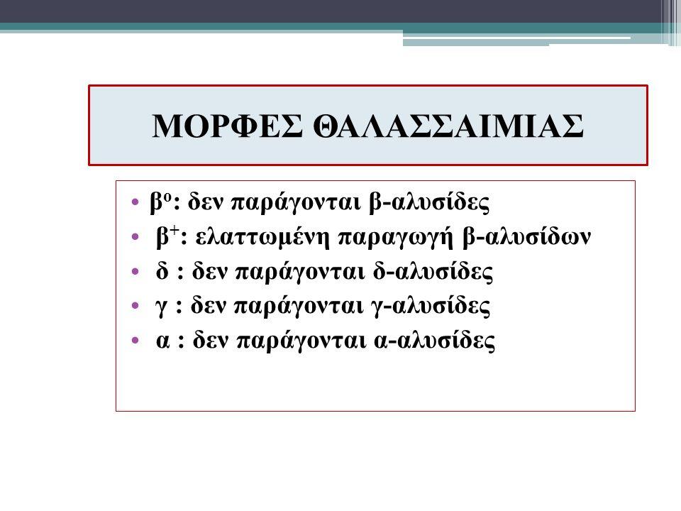 ΜΟΡΦΕΣ ΘΑΛΑΣΣΑΙΜΙΑΣ β o : δεν παράγονται β-αλυσίδες β + : ελαττωμένη παραγωγή β-αλυσίδων δ : δεν παράγονται δ-αλυσίδες γ : δεν παράγονται γ-αλυσίδες α : δεν παράγονται α-αλυσίδες