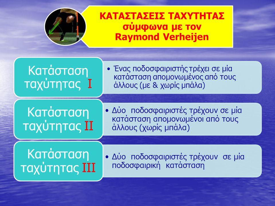ΚΑΤΑΣΤΑΣΕΙΣ ΤΑΧΥΤΗΤΑΣ σύμφωνα με τον Raymond Verheijen Ένας ποδοσφαιριστής τρέχει σε μία κατάσταση απομονωμένος από τους άλλους (με & χωρίς μπάλα) Κατάσταση ταχύτητας Ι Δύο ποδοσφαιριστές τρέχουν σε μία κατάσταση απομονωμένοι από τους άλλους (χωρίς μπάλα) Κατάσταση ταχύτητας ΙΙ Δύο ποδοσφαιριστές τρέχουν σε μία ποδοσφαιρική κατάσταση Κατάσταση ταχύτητας ΙΙΙ