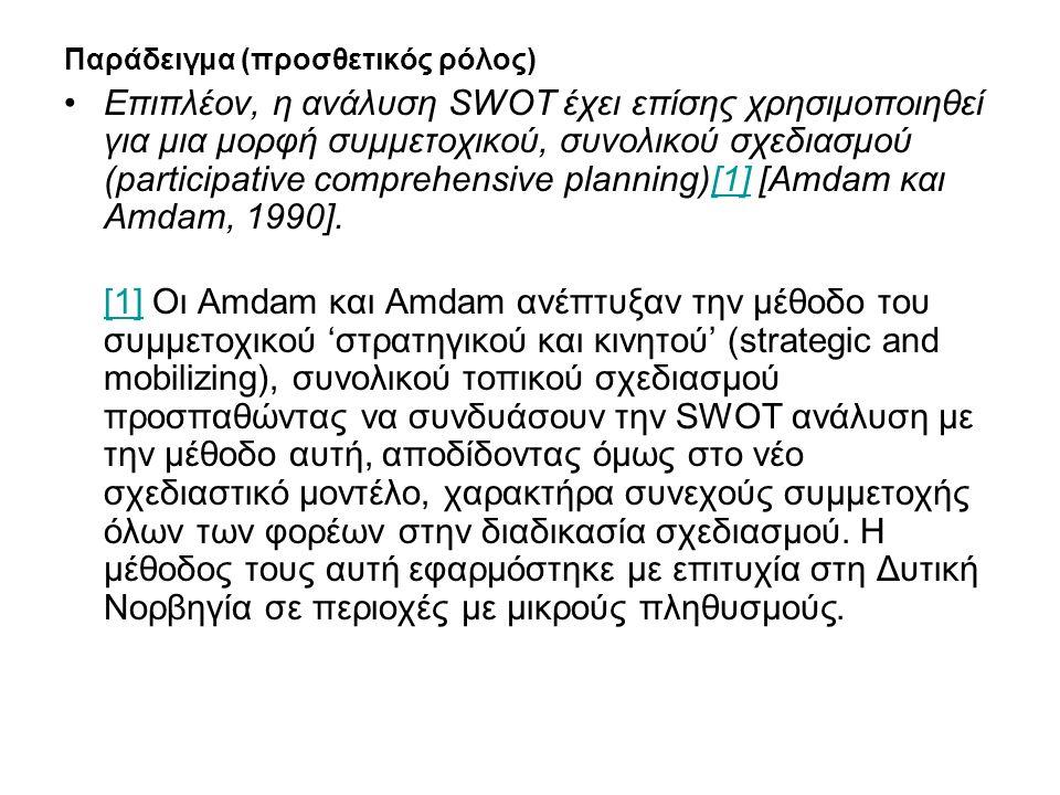 Παράδειγμα (προσθετικός ρόλος) Επιπλέον, η ανάλυση SWOT έχει επίσης χρησιμοποιηθεί για μια μορφή συμμετοχικού, συνολικού σχεδιασμού (participative comprehensive planning)[1] [Amdam και Amdam, 1990].[1] [1] Oι Αmdam και Αmdam ανέπτυξαν την μέθοδο του συμμετοχικού 'στρατηγικού και κινητού' (strategic and mobilizing), συνολικού τοπικού σχεδιασμού προσπαθώντας να συνδυάσουν την SWOT ανάλυση με την μέθοδο αυτή, αποδίδοντας όμως στο νέο σχεδιαστικό μοντέλο, χαρακτήρα συνεχούς συμμετοχής όλων των φορέων στην διαδικασία σχεδιασμού.