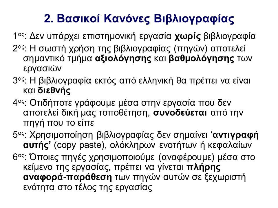2. Βασικοί Κανόνες Βιβλιογραφίας 1 ος : Δεν υπάρχει επιστημονική εργασία χωρίς βιβλιογραφία 2 ος : Η σωστή χρήση της βιβλιογραφίας (πηγών) αποτελεί ση