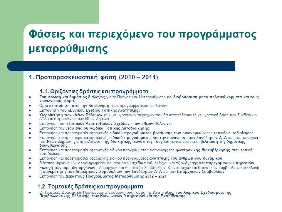Φάσεις και περιεχόμενο του προγράμματος μεταρρύθμισης 1.