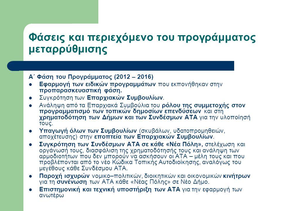 Φάσεις και περιεχόμενο του προγράμματος μεταρρύθμισης Α΄ Φάση του Προγράμματος (2012 – 2016) Εφαρμογή των ειδικών προγραμμάτων που εκπονήθηκαν στην προπαρασκευαστική φάση.