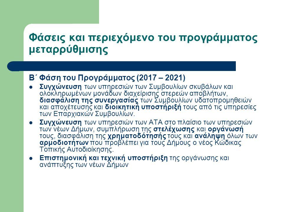 Φάσεις και περιεχόμενο του προγράμματος μεταρρύθμισης Β΄ Φάση του Προγράμματος (2017 – 2021) Συγχώνευση των υπηρεσιών των Συμβουλίων σκυβάλων και ολοκληρωμένων μονάδων διαχείρισης στερεών αποβλήτων, διασφάλιση της συνεργασίας των Συμβουλίων υδατοπρομηθειών και αποχέτευσης και διοικητική υποστήριξή τους από τις υπηρεσίες των Επαρχιακών Συμβουλίων.