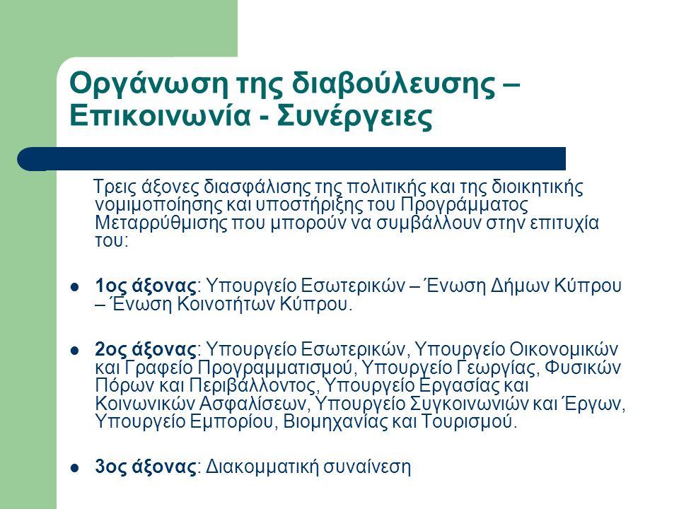 Οργάνωση της διαβούλευσης – Επικοινωνία - Συνέργειες Τρεις άξονες διασφάλισης της πολιτικής και της διοικητικής νομιμοποίησης και υποστήριξης του Προγράμματος Μεταρρύθμισης που μπορούν να συμβάλλουν στην επιτυχία του: 1ος άξονας: Υπουργείο Εσωτερικών – Ένωση Δήμων Κύπρου – Ένωση Κοινοτήτων Κύπρου.