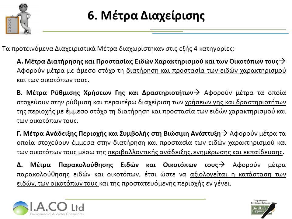 6. Μέτρα Διαχείρισης Τα προτεινόμενα Διαχειριστικά Μέτρα διαχωρίστηκαν στις εξής 4 κατηγορίες: Α. Μέτρα Διατήρησης και Προστασίας Ειδών Χαρακτηρισμού