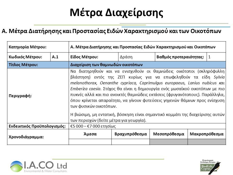 Μέτρα Διαχείρισης Α. Μέτρα Διατήρησης και Προστασίας Ειδών Χαρακτηρισμού και των Οικοτόπων Κατηγορία Μέτρου:A. Μέτρα Διατήρησης και Προστασίας Ειδών Χ