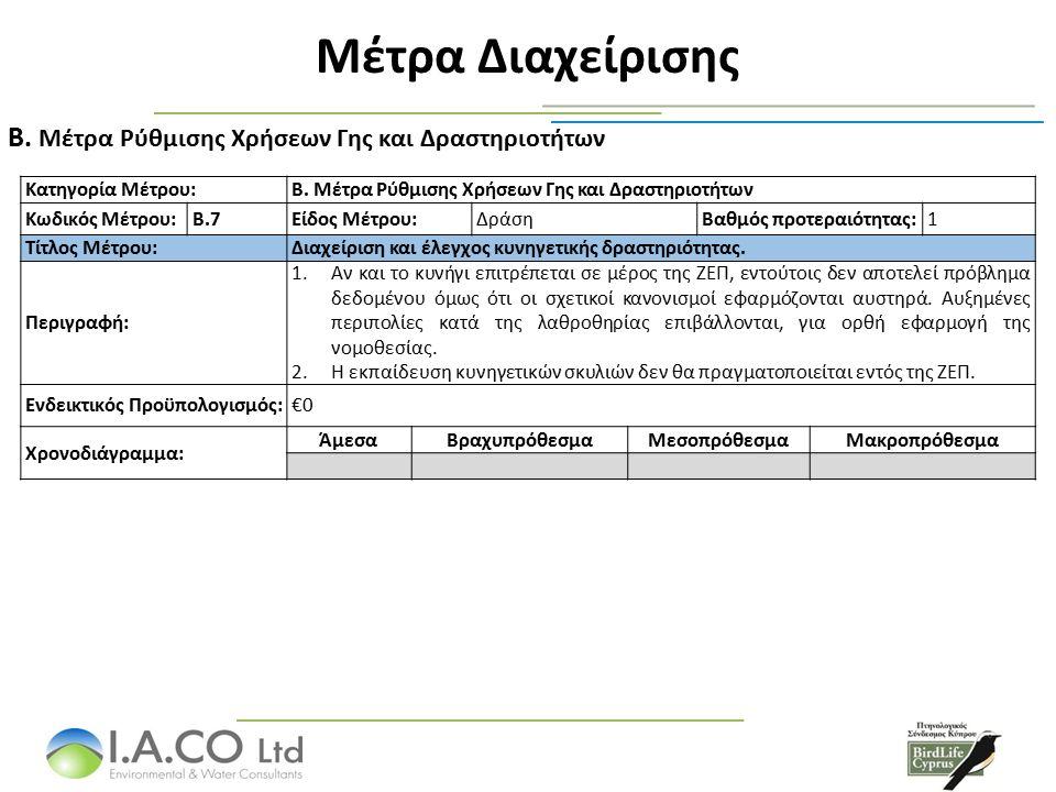 Μέτρα Διαχείρισης Μέτρα Ρύθμισης Χρήσεων Γης και Δραστηριοτήτων B.