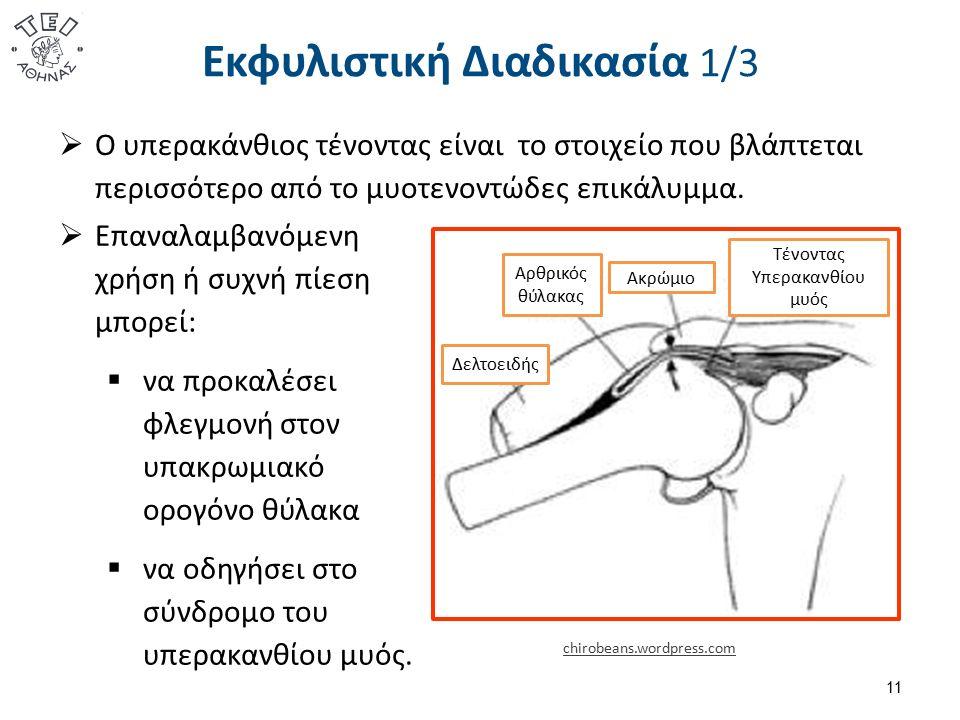 Εκφυλιστική Διαδικασία 1/3 11 Ακρώμιο Δελτοειδής Αρθρικός θύλακας Τένοντας Υπερακανθίου μυός chirobeans.wordpress.com  Επαναλαμβανόμενη χρήση ή συχνή πίεση μπορεί:  να προκαλέσει φλεγμονή στον υπακρωμιακό ορογόνο θύλακα  να οδηγήσει στο σύνδρομο του υπερακανθίου μυός.