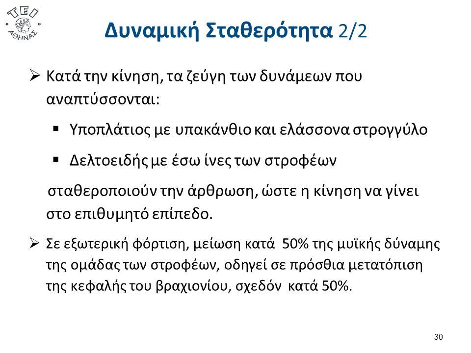 Δυναμική Σταθερότητα 2/2 30  Κατά την κίνηση, τα ζεύγη των δυνάμεων που αναπτύσσονται:  Υποπλάτιος με υπακάνθιο και ελάσσονα στρογγύλο  Δελτοειδής