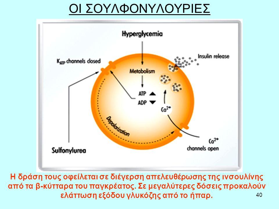 40 ΟΙ ΣΟΥΛΦΟΝΥΛΟΥΡΙΕΣ H δράση τους οφείλεται σε διέγερση απελευθέρωσης της ινσουλίνης από τα β-κύτταρα του παγκρέατος. Σε μεγαλύτερες δόσεις προκαλούν